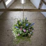Interior hanging flower arrangement