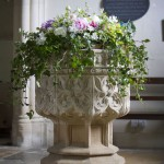 Interior Church Font Flower Arrangement by Go Wild Flowers (Beth Cox)