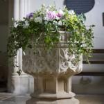 Interior Church Font Flower Arrangement by Go Wild Flowers (Beth Cox)