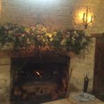 Interior fireplace flower arrangement